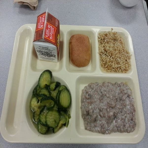 School cafeteria lunches at its worst. 7