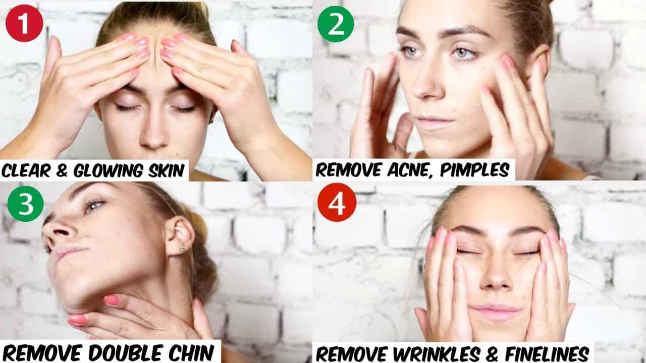 Facial massage technique to get a perfectly shaped face. 9